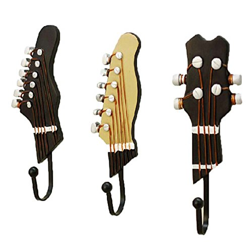 Set of 3 [Cool Guitar] Creative High Load-bearing Decorative Hooks Key (Gtr Hanger)