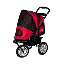 Pet Gear AT3 Generation 2 All Terrain Pet Stroller for pets up to 60-Pounds, Red Poppy
