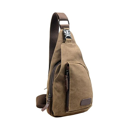 Price comparison product image Men Chest Bag Casual Canvas Unbalance Backpack Crossbody Shoulder Bag Canvas Crossbody Bag (One_Size,  Coffee)
