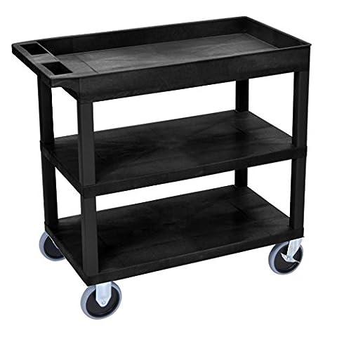 LUXOR EC122HD-B Cart, 2 Flat with 1 Tub Shelf, 18