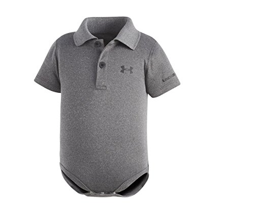 Under Armour Baby-Boys' Polo Bodysuit,Carbon Heather (27690007-04)/White,6-9 Months - Under Armour Gray Shirt