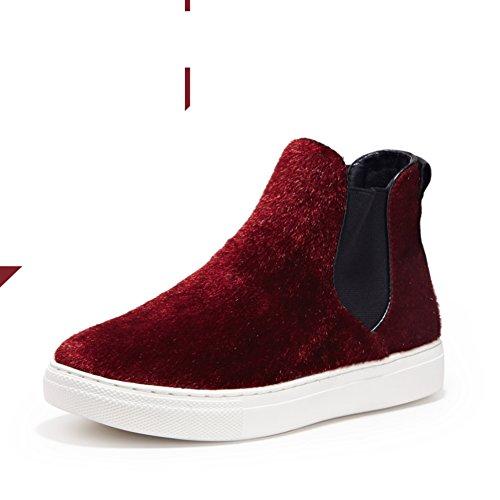 E De Europea cabeza Zapatos Zapatos Americana B Primavera Las Invierno Conjuntos Y zapatos Mujeres Pie Sólido Redonda Color dqxSnp8w