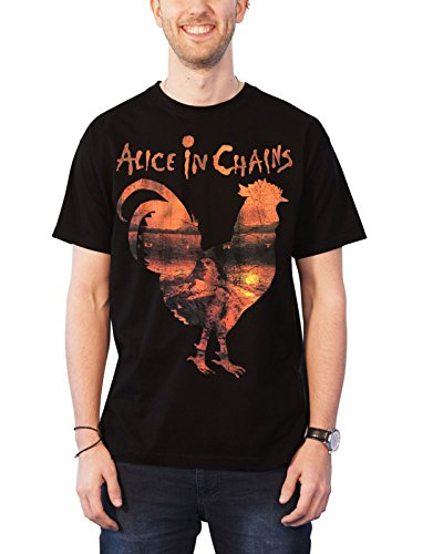 Alice In Chains T Shirt Rooster Dirt Band Logo Official Mens Black