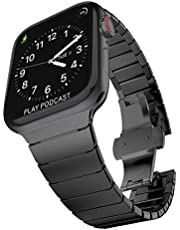 Surace Stainless Steel Link Bracelet Replacement for Apple Watch Series 4 44mm Band with Butterfly Folding Clasp Compatible for Apple Watch 42mm Series 3 Series 2 Series 1(Black)