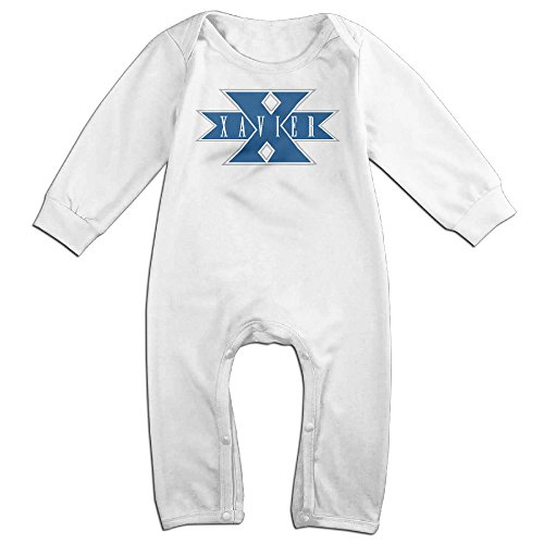 Waffle Costume Diy (Dara Xavier University Musketeers Boy's & Girl's Long Sleeve Romper Bodysuit Outfits White 6 M)