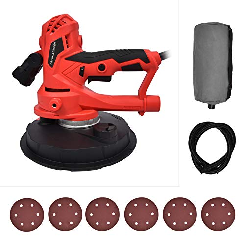 FULLWATT Electric Drywall Sander 710W with 5 Variable Speed Auto Dust Collection System and LED Light Electric Hand Held Drywall Sander for Ceilings and Walls