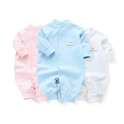 Himipopo Newborn Baby Romper Set Of 3 Pure Cotton Long-Sleeve Infant Jumpsuit (3M/59CM) -