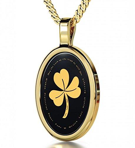 Gold Plated Shamrock Necklace - Irish Pendant Inscribed in 24k Gold on Black Onyx Stone, 18
