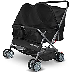 Double Dog Stroller - Pet Strollers for Small Medium Dogs Cats Two Doggy Puppy or 2 Kitty Cat Carriage Buggy - Fold-able Animal Pets Doggie Cart Carriages, Black