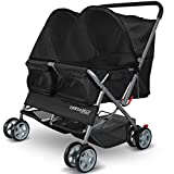 Image of Paws & Pals Double Pet Stroller - 4 Wheels Lightweight Two Puppy, Dog & Cat Strollers - Best for Walking 2 Small/Medium Size Animal, Cats or Dogs - Foldable Pets Twin Carriage - Black