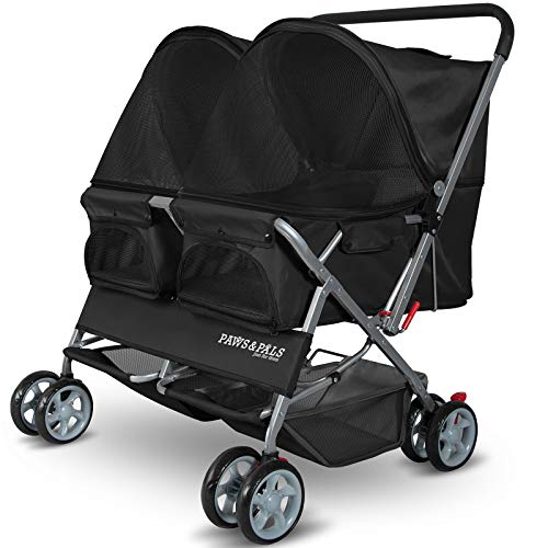 Double Dog Stroller – Pet Strollers for Small Medium Dogs Cats Two Doggy Puppy or 2 Kitty Cat Carriage Buggy – Fold-able Animal Pets Doggie Cart Carriages