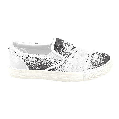 D-histoire Musique Note Art Femmes Slip-on Toile Chaussures Mode Sneaker
