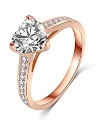 14k Rose Gold Solitaire Heart Engagement Ring Pave CZ Side Stones Band,Size 7 8 9