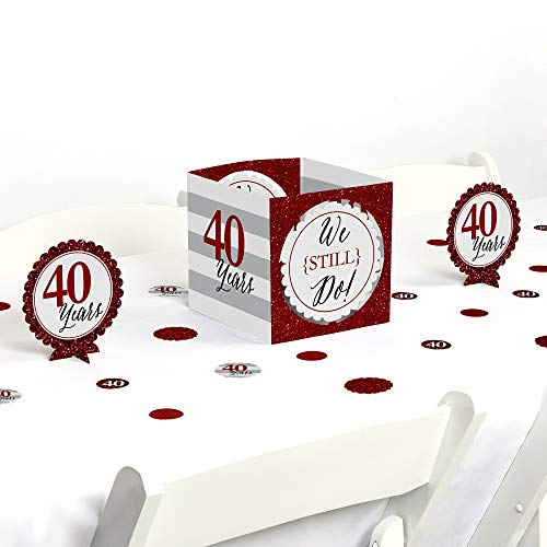 Big Dot of Happiness We Still Do - 40th Wedding Anniversary - Party Centerpiece & Table Decoration -