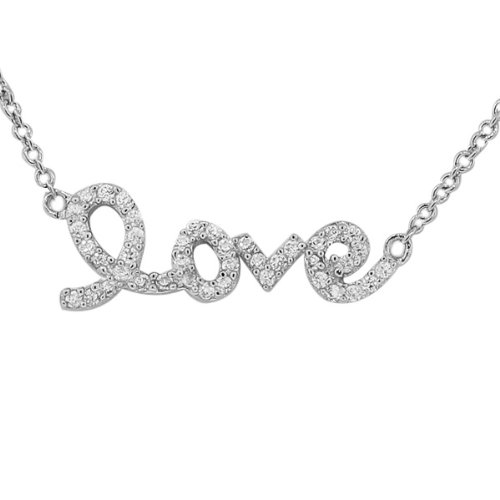 My Daily Styles 925 Sterling Silver Love Heart Charm Script White CZ Pendant Necklace