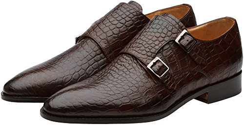 Handcrafted Mens Leather Shoes Genuine Classic Strap 3DM Modern Brown Lifestyle Monk Double Dress fqpwnI
