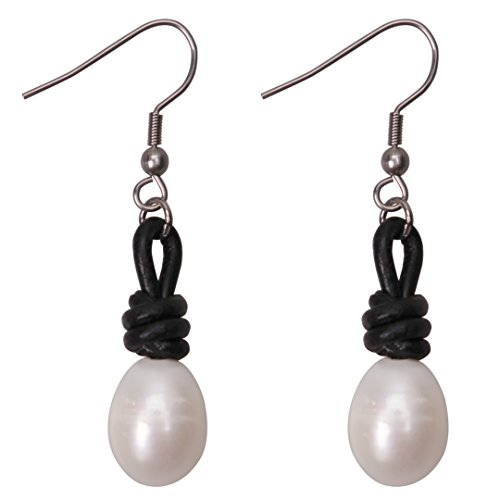Rice Pearl Hook Earrings (Pearl Drop Earrings Women Stainless Steel Dangling Freshwater Cultured Pearls Leather Jewelry Black)