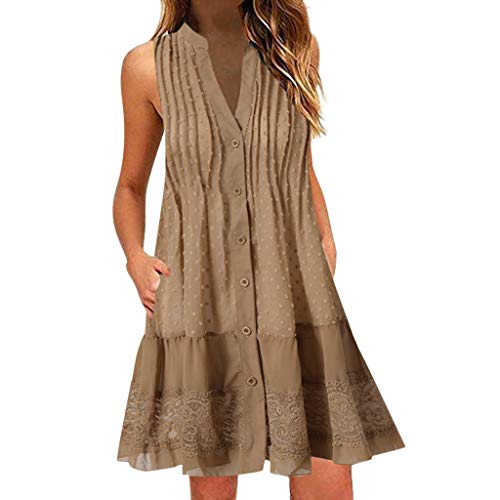 Aniywn Women's Vest Dress Sleeveless V-Neck Flare Hem Midi-Dress Casual Beach Plus Size Mini Dress Khaki