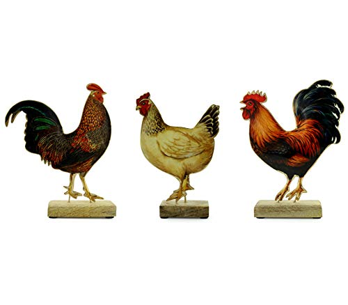 - AuldHome Design Chicken Decor Set of 3 Chicken Figurines, Modern Farmhouse Rooster and Hen Ornament Set