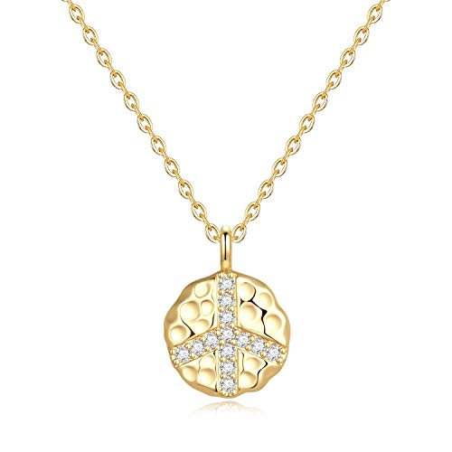 Gold Peace Sign Necklace for Women - Gold Plated CZ Peace Sign Pendant Dainty Inspirational Gifts Necklace for Women Girls, Dainty Necklace Inspirational Gifts Wish Gifts Thank You Gifts for Her