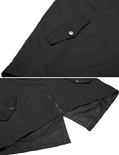 Meaneor Abrigo Impermeable con Chubasquero Outdoor 1 Negro Mujer Capucha BwBrHqX
