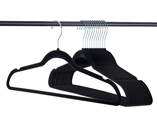 Premium Velvet Hangers Heavy Duty - 50 Pack Clothes Hangers - Non Slip Black Suit Hangers - Clothes Hanger Hook Swivel 360 - Ultra Thin (50 Pack).