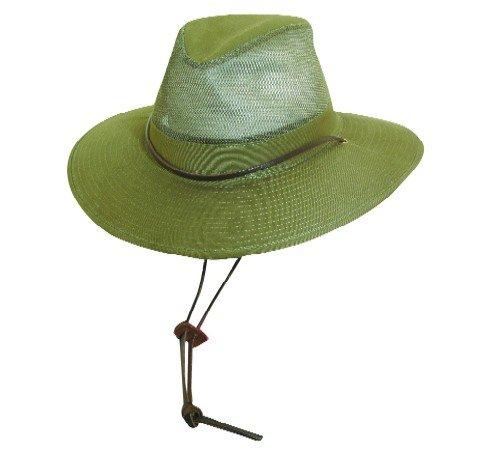 Big Brim Mesh SAFARI Hat - One Size Fits Most - by Dorfman Pacific (Loden Green) ()