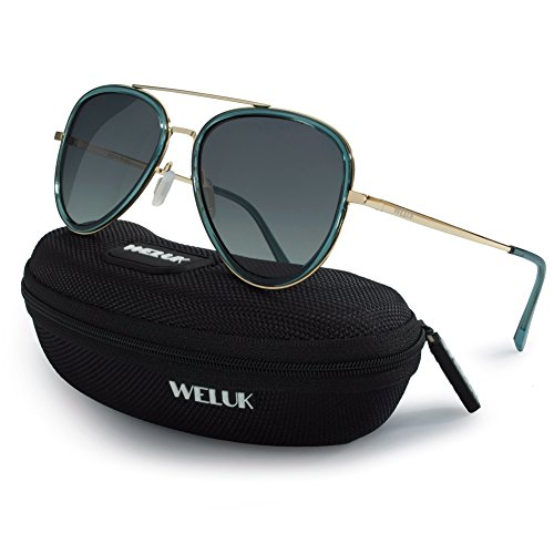 WELUK Polarized Aviator Sunglasses 60mm Large Frame Mens Womens Gradient UV400 Lens (Green, - Male Frame Large