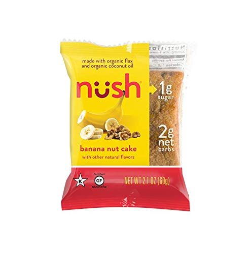 Low Carb Keto Snack Cakes (Flax-Based) - Banana Nut Flavor (6 Cakes) - Gluten Free, Soy Free, Organic, No Sugar Added - Great for Ketogenic, Low-Carb, Atkins, and Low-Sugar Diets