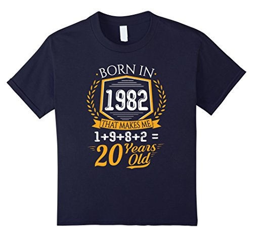 Halloween Costume Ideas 20 Yr Old (Kids Funny 35th Birthday Born In 1982 Retro Vintage T-Shirt Gift 12 Navy)