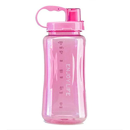 2L Sports Water Bottles,Lonni Portable Wide Mouth Bottle Leakproof Plastic Space Cup Travel Mugs with Straw and Adjustable Strap for Kids Adult Summer Outdoor Sports (Portable Plastic Bottle)