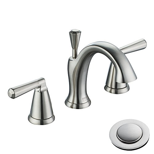 Enzo Rodi Low-Lead Brass Low-Arc Two-Handle 3 Holes Widespread Bathroom Sink Faucet with Valve and Lift Pop-Up Drain Assembly Brushed Nickel ()