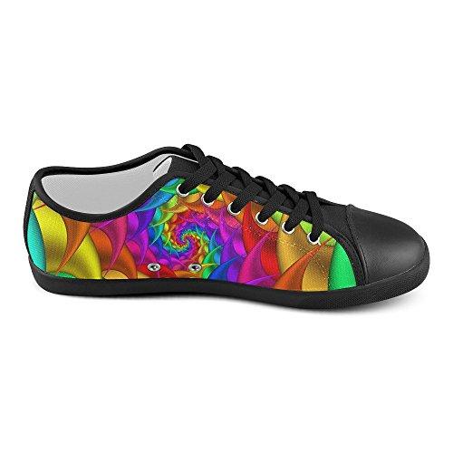 Artsadd Psykedeliske Rainbow Spiral Canvas Sko For Kvinner (model016) Multi Color6