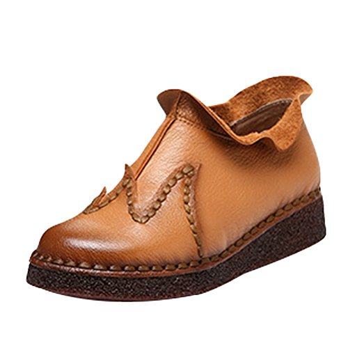 Mordenmiss Womens Rétro Flanging Mid Patchwork Plate-forme Slip Sur Western Conduite Bootie Ocre