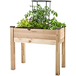 "CedarCraft Elevated Cedar Planter (18"" x 34"" x 30"") - Grow Fresh Vegetables, Herb Gardens, Flowers & Succulents. Beautiful Raised Garden Bed for a Deck, Patio or Yard Gardening. No Tools Required."