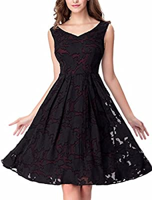 Noctflos Women's Burnout Floral Lace Flare Knee Length Casual Cocktail Dress