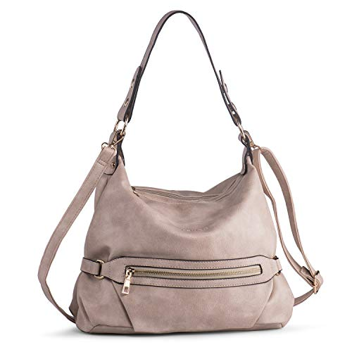 Shoulder Purse for Women PU Leather Hobo Handbag Top Handle Crossbody Bag Casual Apricot Katloo