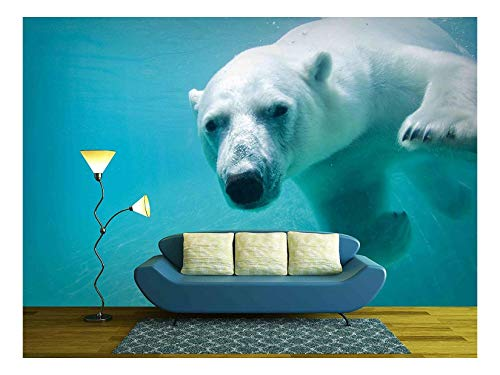 wall26 - Polar Bear Swimming Underwater at the Zoo - Removable Wall Mural | Self-adhesive Large Wallpaper - 66x96 inches
