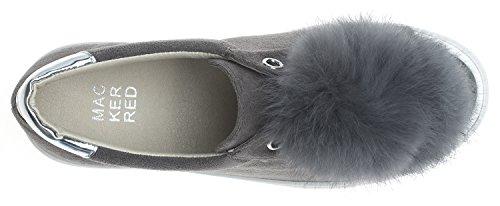 Annakastle Da Donna In Pelliccia Con Pompon Slip-on Platform Sneaker In Pelle Scamosciata - Grigio