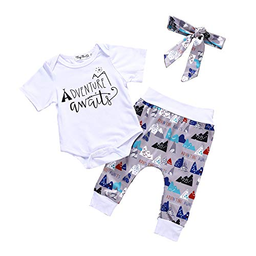 Toddler Baby Mountain Print Romper Clothes+Long Pants+Hat Set Outfit