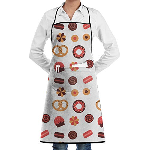 Hidden Ambition Cake Pretzel Cookies Vintage Aprons for Women with Pockets, Mens Kitchen Aprons for Waiter Cooking Baking Crafting Gardening BBQ -