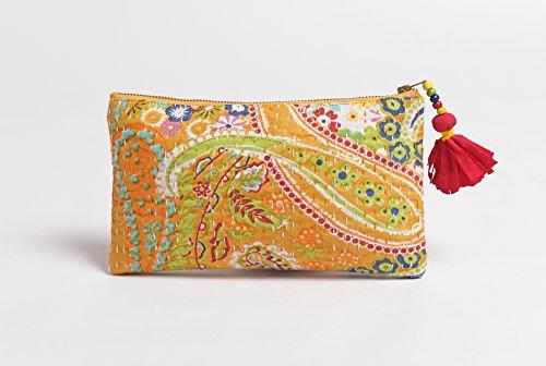 Amarillo, cremallera monedero, maquillaje o cosméticos bolsa, bolsa de utilidad, Kantha Funda de, 5x 9cm