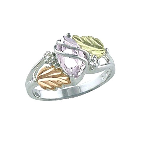Created White Spinel Marquise April Birthstone Ring, Sterling Silver, 12k Green and Rose Gold Black Hills Gold Motif, Size 8