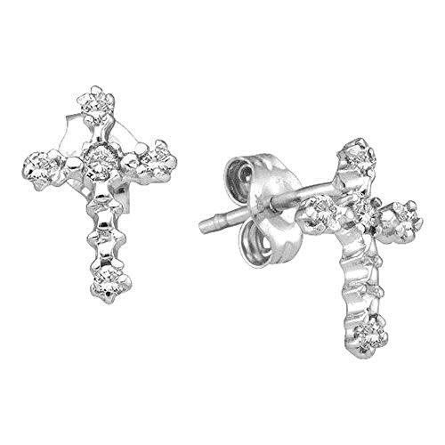 10kt White Gold Womens Round Diamond Cross Religious Stud Earrings 1/20 Cttw (Studs Diamond Cross Earrings)