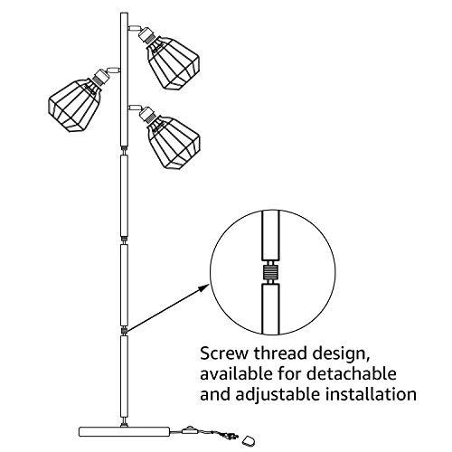 Leonlite 65inch Track Tree Floor Lamp 3 Head Torchiere Lamp