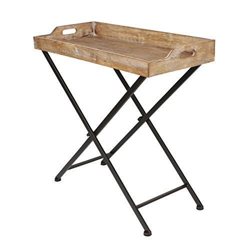 NEW expanding tray table Marmora Metal and Wood Foldable Tray Table, Black (Black Flood Tray)