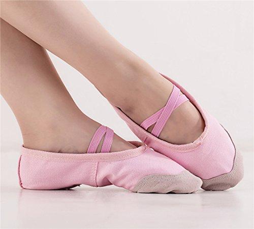 Missfiona Damesschoenen Balletdanspantoffels Met Split-sole Gymnastiek Buik Oefenschoenen Roze
