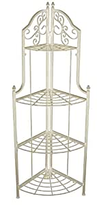 AQ BR-0961-RC4 Country Cream 4 Tier Corner Baker's Rack with Scroll Design, Flip and Lock, 18 by 12 by 52-Inch