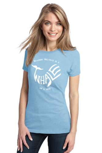 READING MELVILLE IS A WHALE OF A TIME Ladies' T-shirt / Moby Dick Literary Book Worm Humor Tee