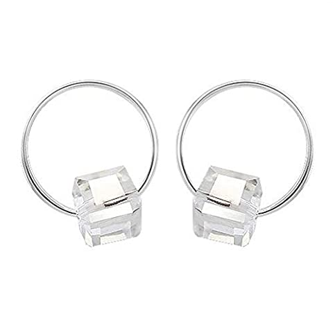 Winter's Secret Lovely Lohas Girl Little Small Circle White Cube Sugar Crystal Silver Plated Earring